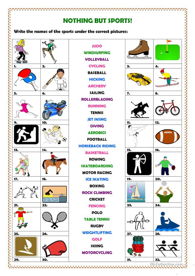 Nothing but sports! - ESL worksheets