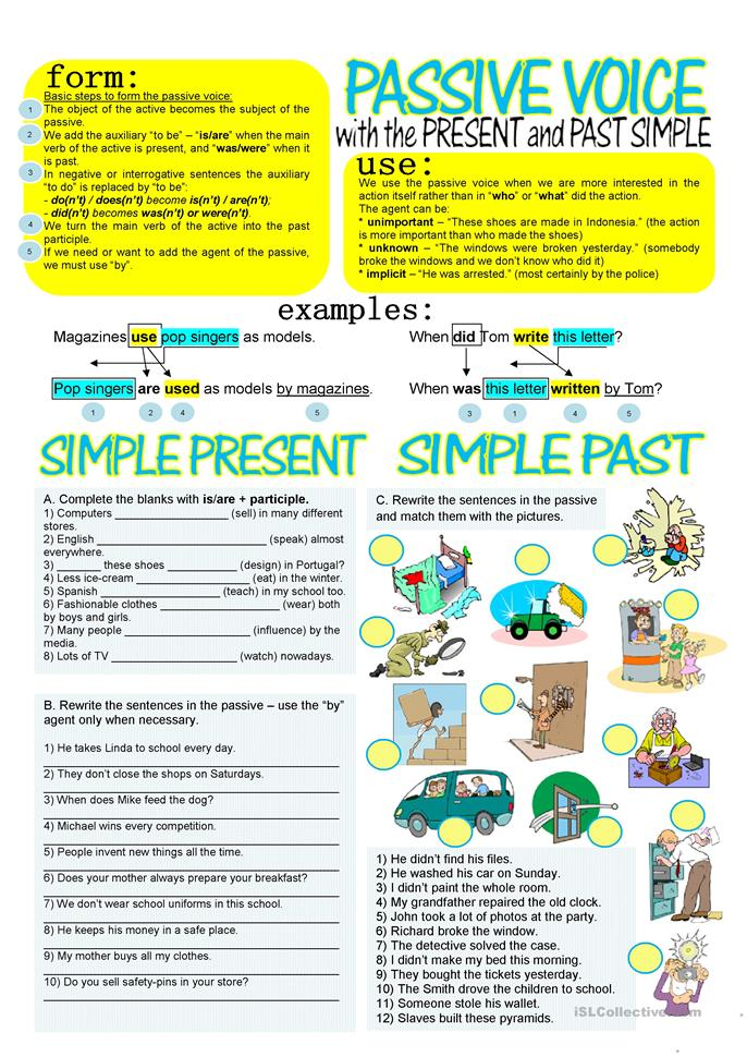 Passive Voice With Simple Present And Past Worksheet
