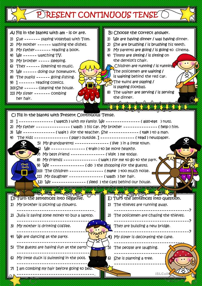 Present Continuous Tense - ESL worksheets