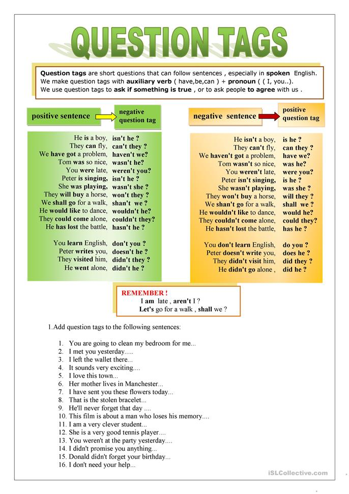 72 FREE ESL question tags worksheets