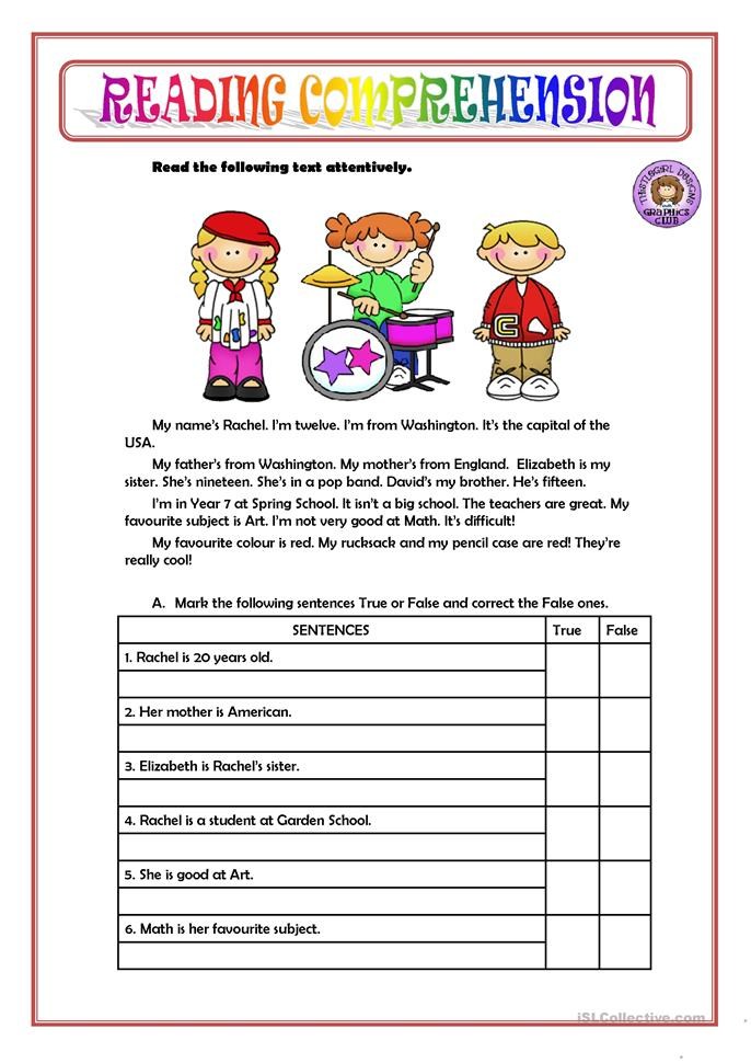 READING COMPREHENSION worksheet - Free ESL printable ...