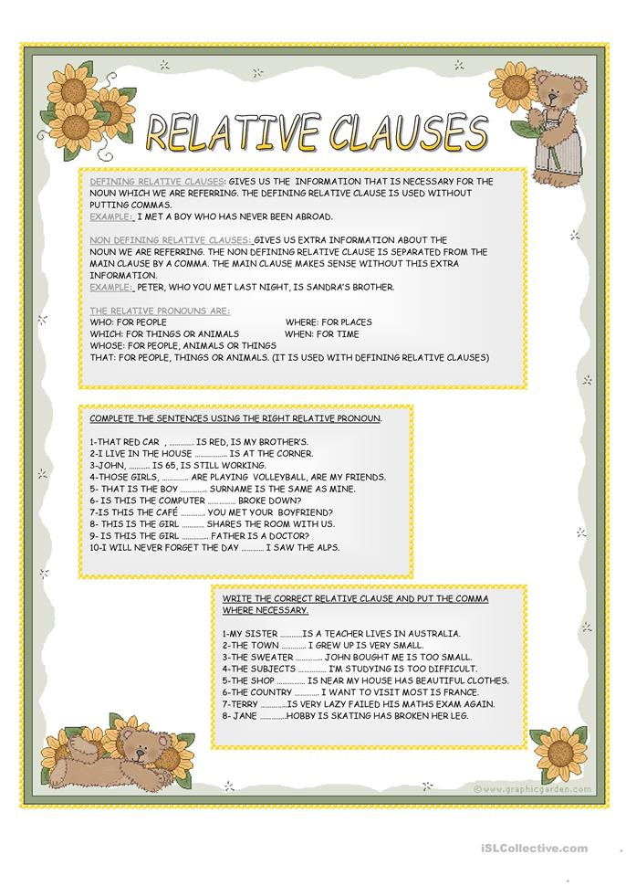 relative clauses exercises