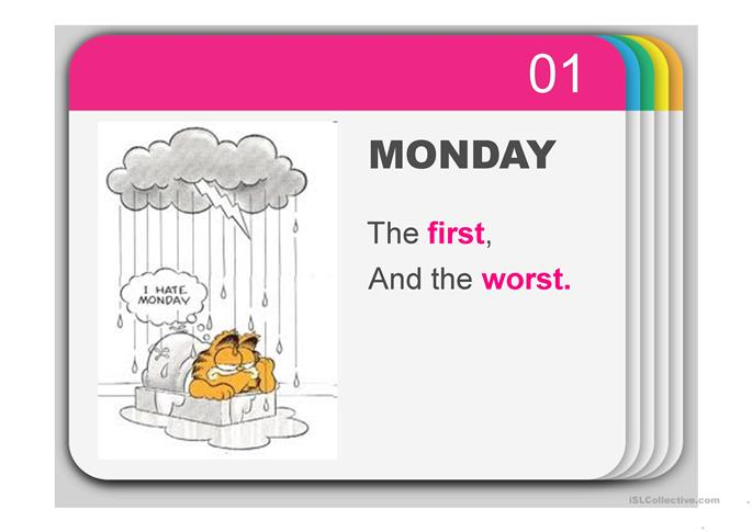 Rhyme on Days of the Week & Ordinal numbers with Garfield - ESL powerpoints
