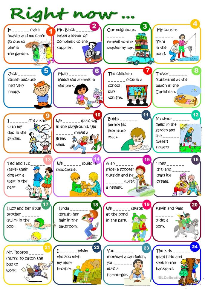 Right now... - Present... - ESL worksheets