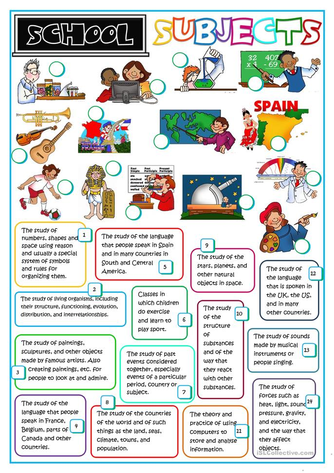 School subjects - ESL worksheets