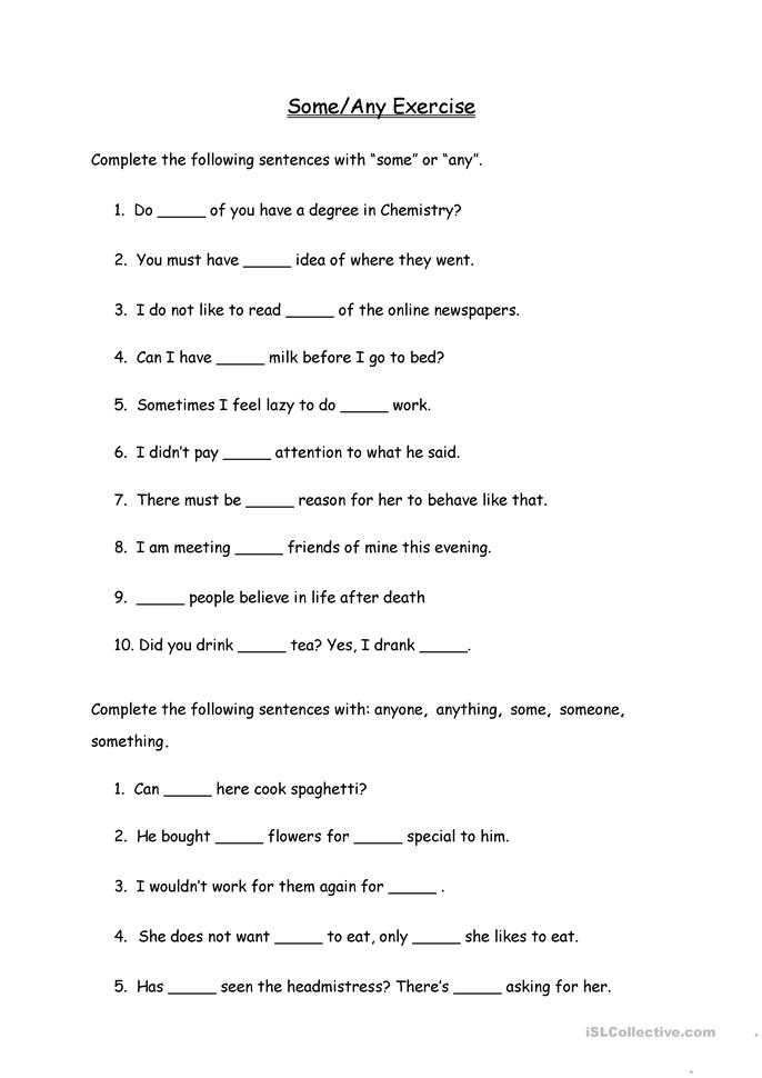Some/Any Exercise - ESL worksheets