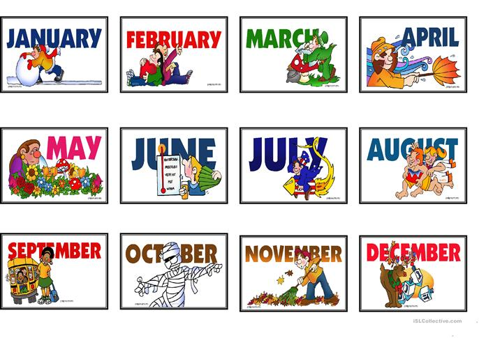 Speaking/Matching Months and Days Game Cards *Fully ...