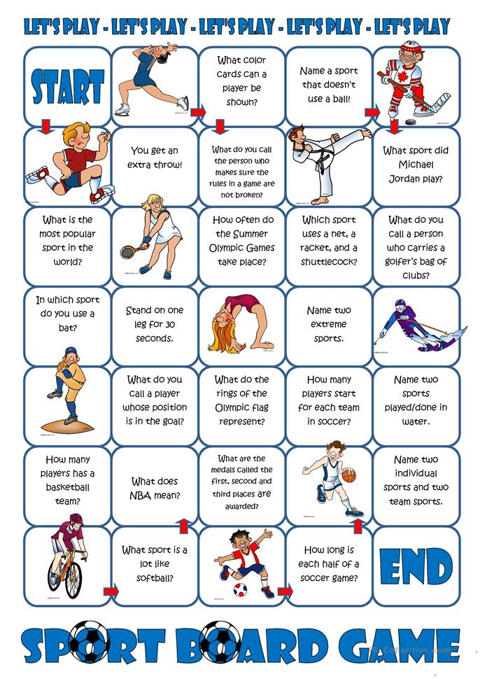 Sport Board Game - ESL worksheets
