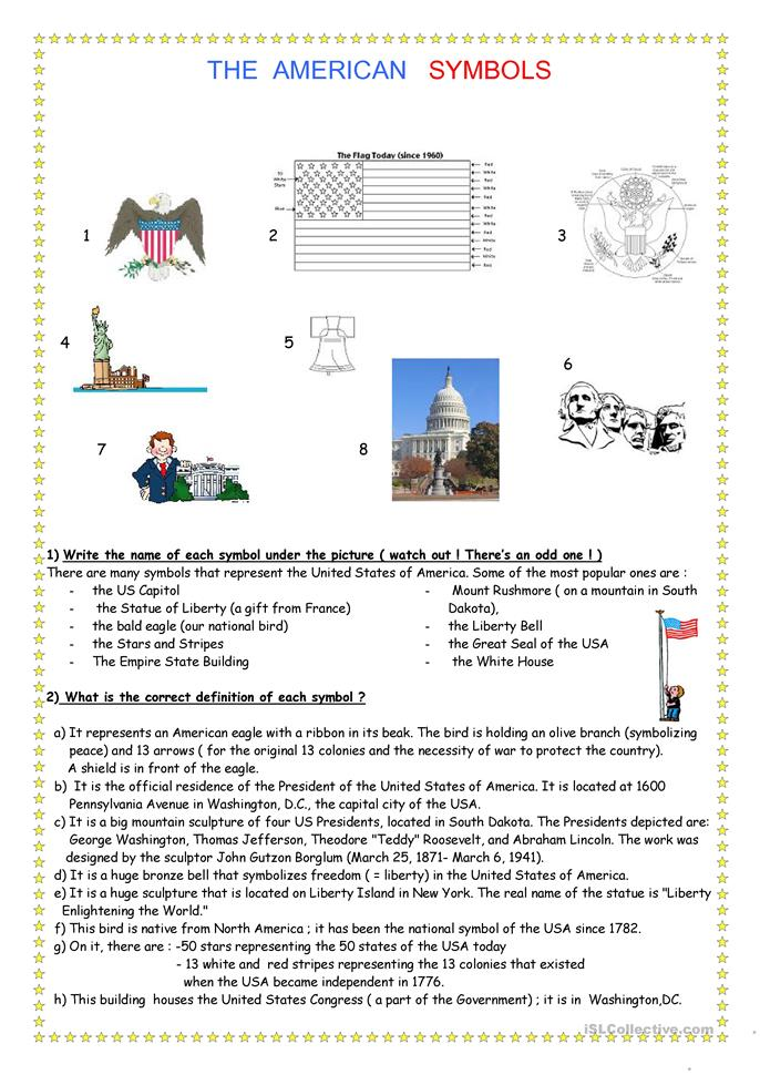Printables American Symbols Worksheet 40 free esl symbols worksheets of the usa