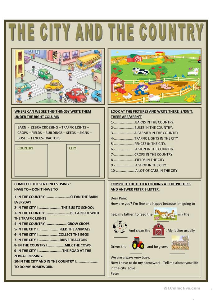 THE CITY AND THE COUNTRY - ESL worksheets