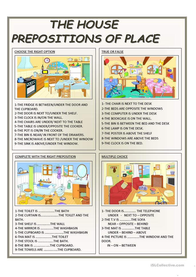THE HOUSE - PREPOSITIONS OF PLACE - ESL worksheets