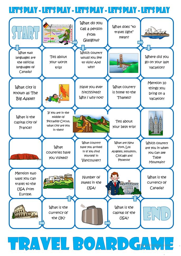 Travel Board Game - ESL worksheets