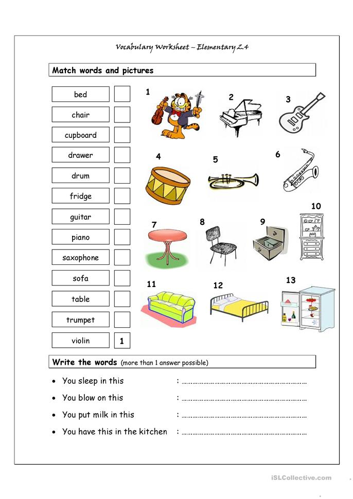 31 free esl musical instruments worksheets &