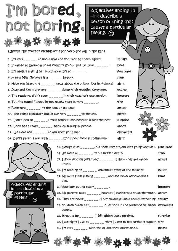 Adjectives With Ed And Ing Worksheet Free Esl