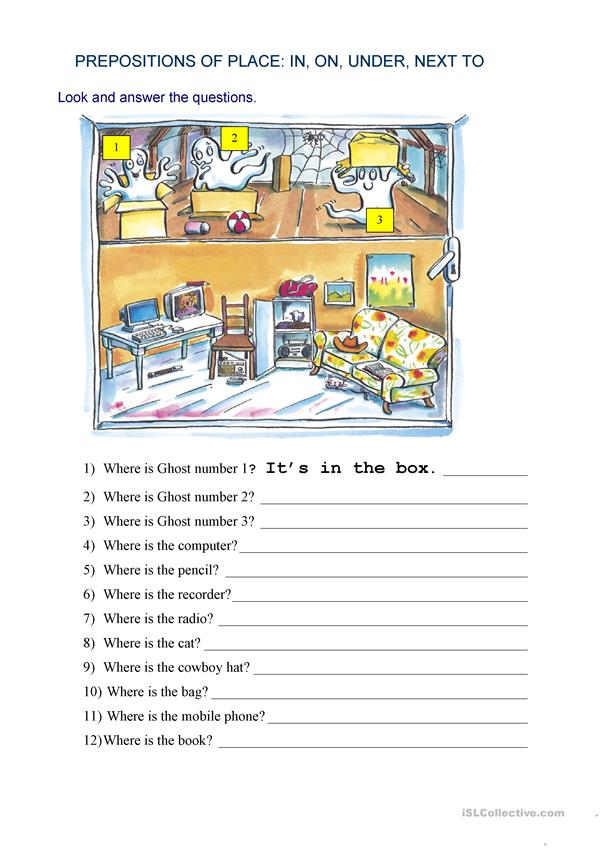 Preposition In Learn In Marathi All Complate: Prepositions Of Place: Where Is...? Worksheet