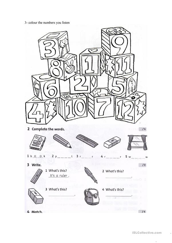 test on colours numbers and school objects worksheet free esl printable worksheets made by. Black Bedroom Furniture Sets. Home Design Ideas
