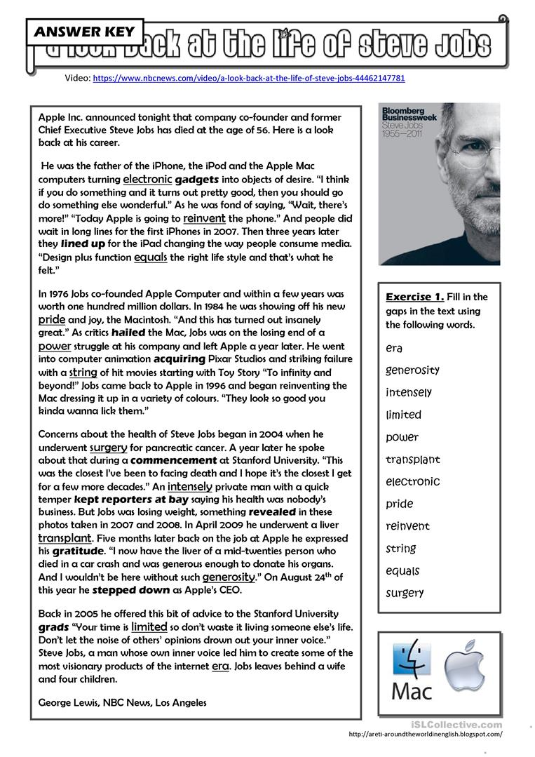 A look back at the life of Steve Jobs - English ESL Worksheets