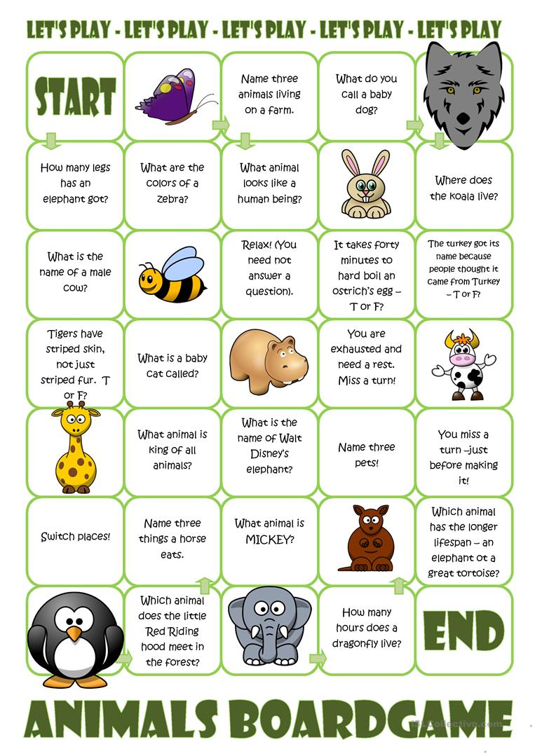 Souvent 27 FREE ESL animal board game worksheets NH97