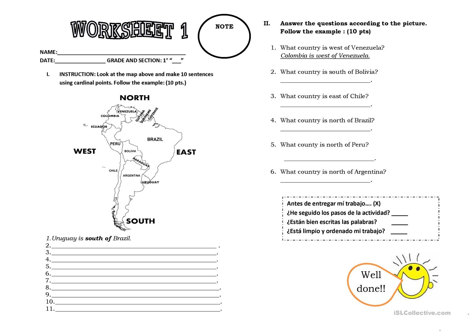 Worksheets Cardinal Directions Worksheet cardinal points worksheet free esl printable worksheets made by full screen