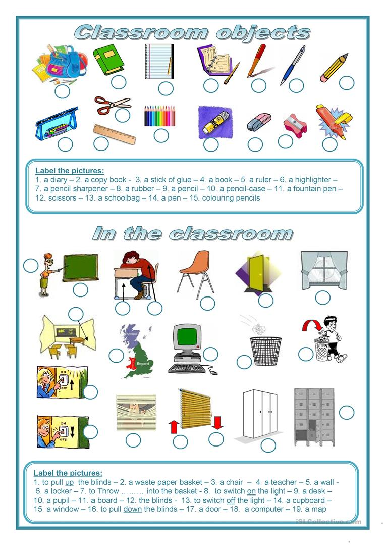 85 FREE ESL classroom objects worksheets – Classroom Objects in Spanish Worksheet