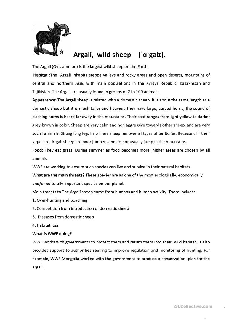 English ESL animals in danger worksheets - Most downloaded (18 Results)