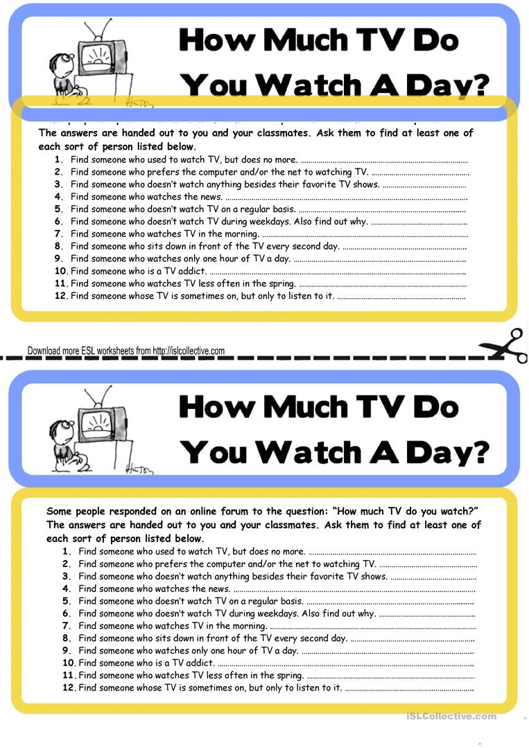 find someone who topic watching tv with key worksheet free esl printable worksheets. Black Bedroom Furniture Sets. Home Design Ideas