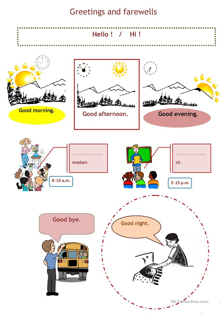 8 free esl greetings farewells worksheets kristyandbryce Image collections