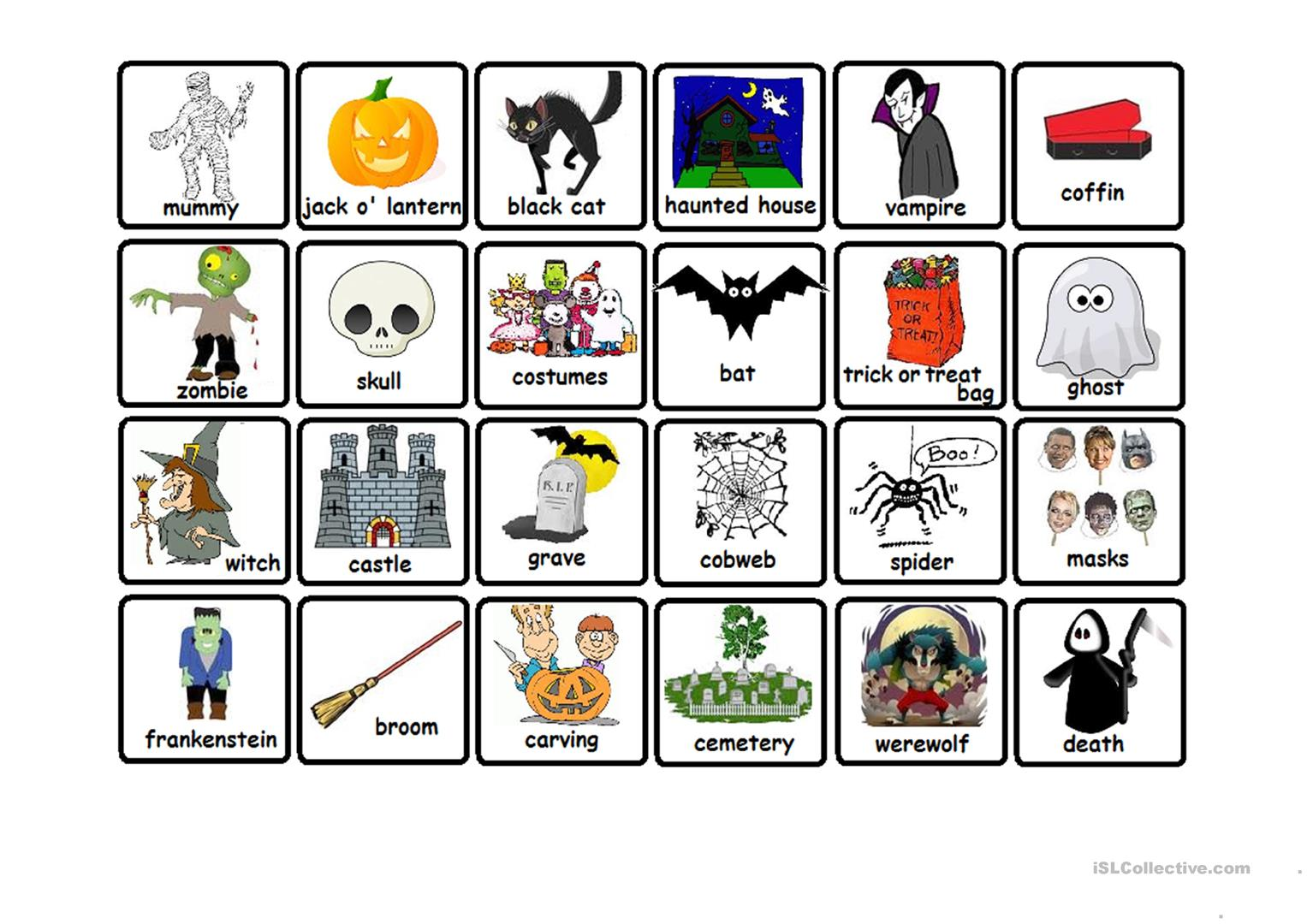 graphic regarding Printable Memory Games for Adults known as Halloween Memory Video game - English ESL Worksheets