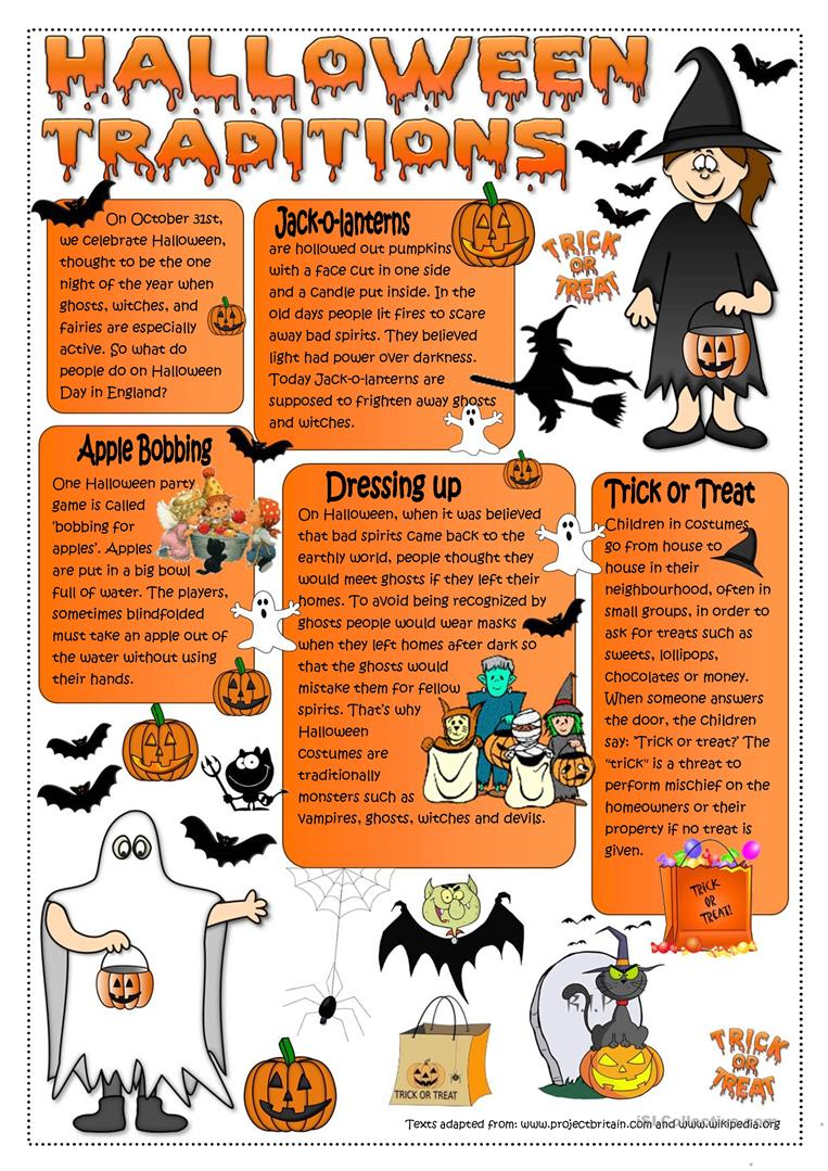halloween traditions worksheet - free esl printable worksheets made