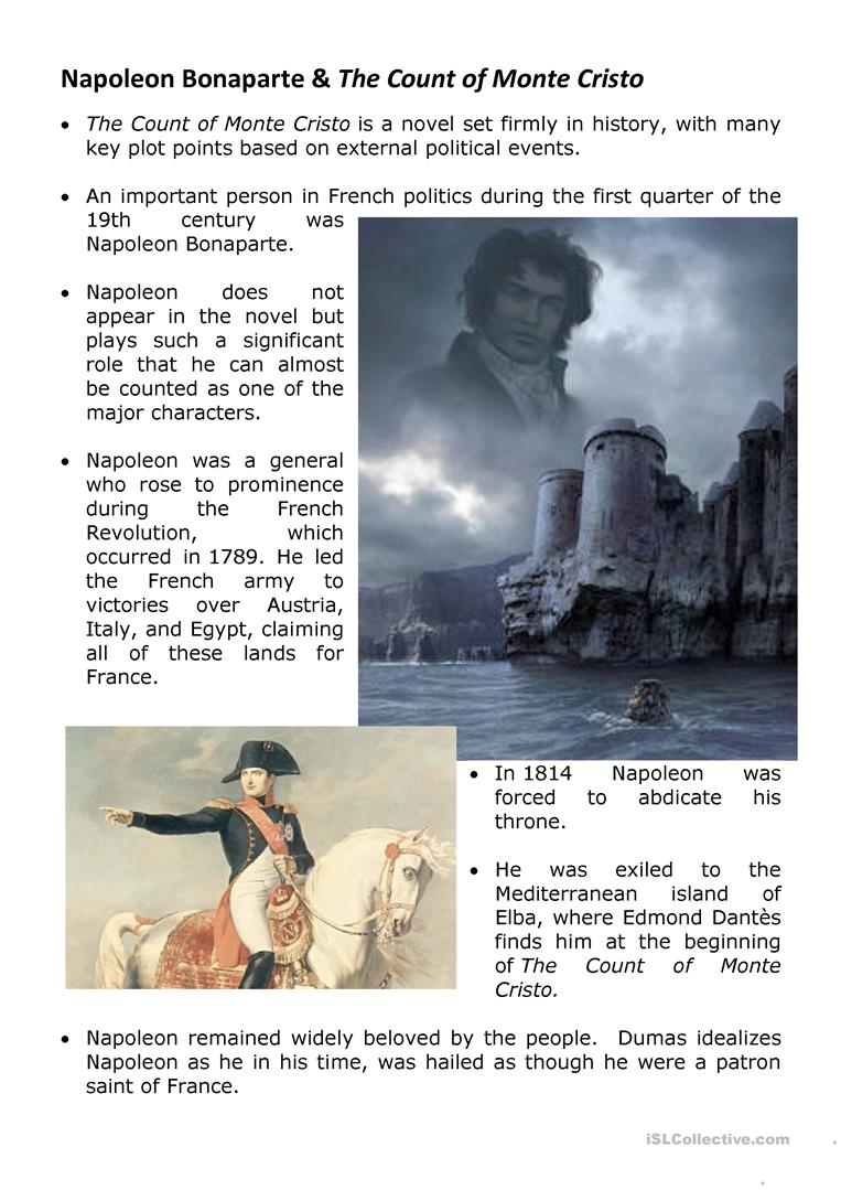 Napoleon bonaparte and the count of monte cristo worksheet free full screen robcynllc Image collections