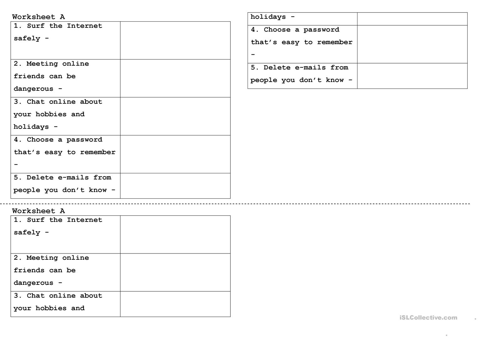 photograph relating to Free Printable Internet Safety Worksheets named on the internet protection - English ESL Worksheets