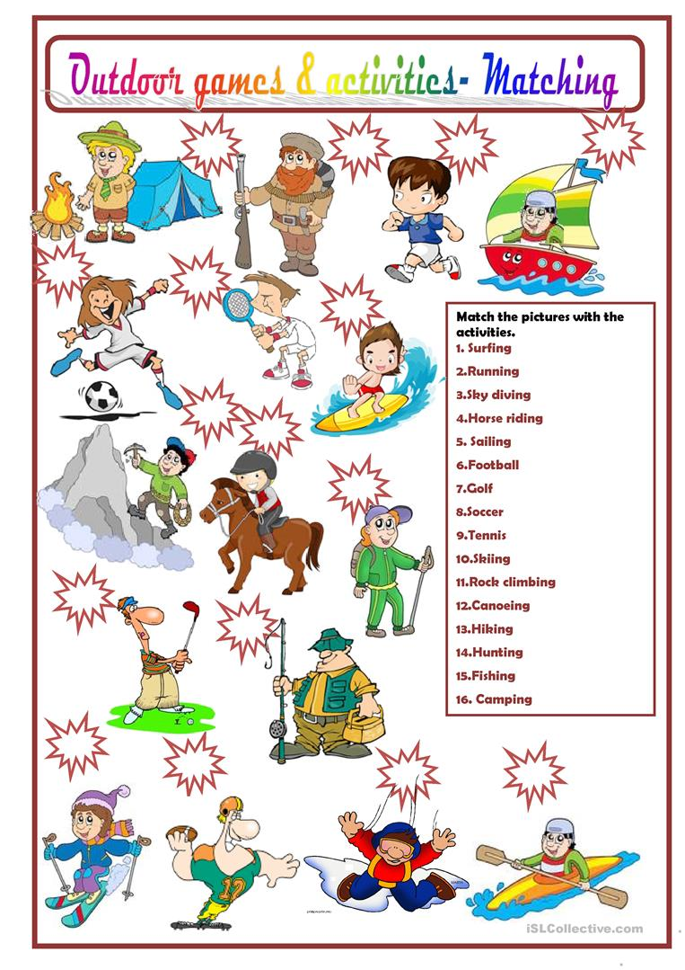 OUTDOOR GAMES AND ACTIVITIES - English ESL Worksheets