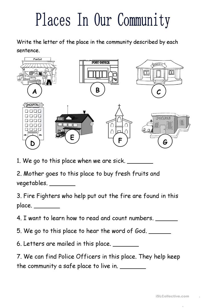 places in the community worksheet free esl printable worksheets made by teachers. Black Bedroom Furniture Sets. Home Design Ideas