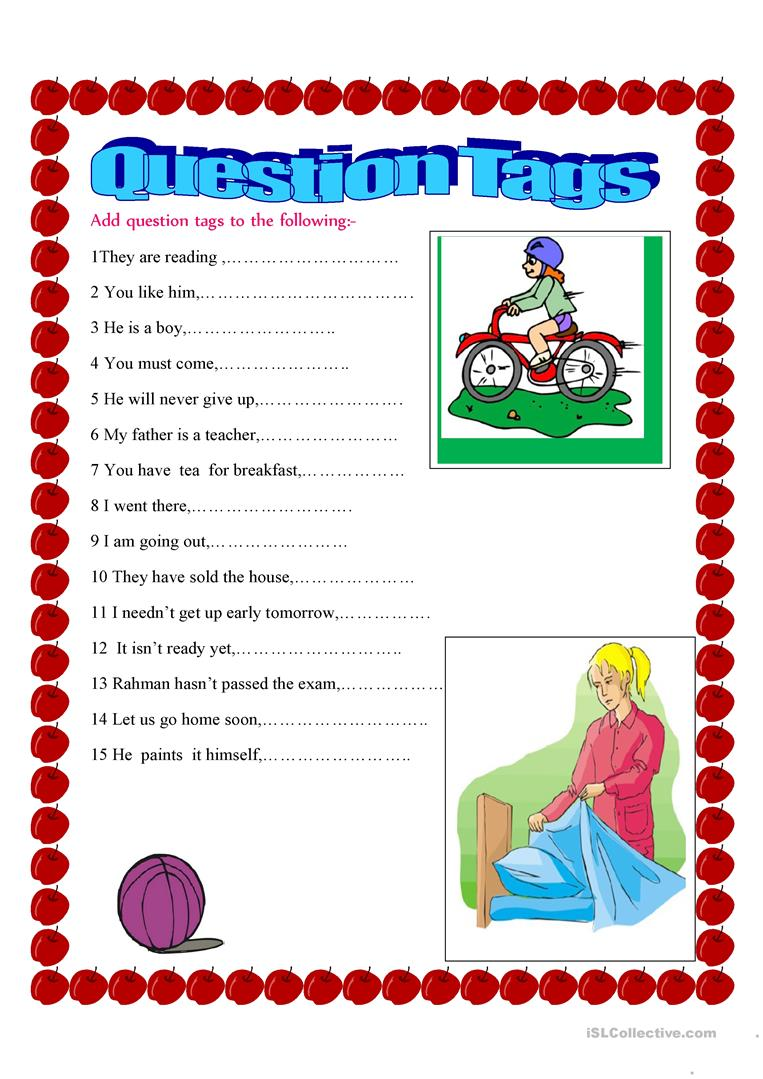 question Tag - English ESL Worksheets for distance ...