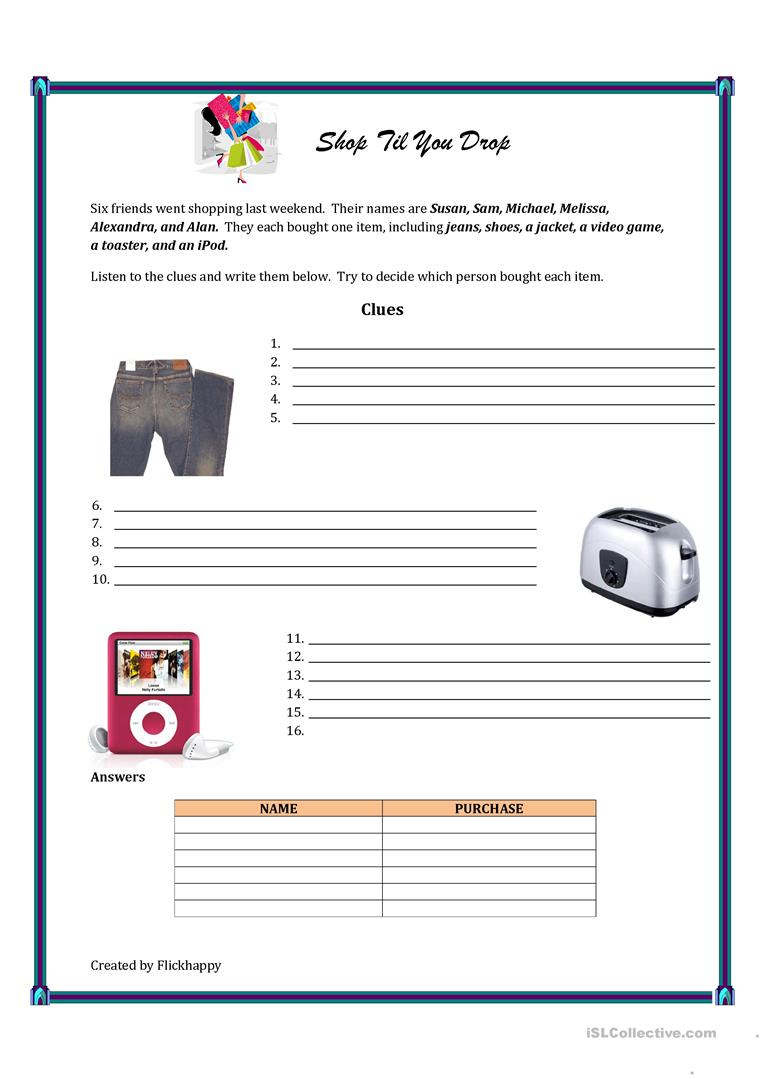 worksheet Logic Puzzle Worksheets shop till you drop logic puzzle worksheet free esl printable full screen