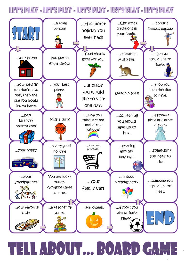 Tell About....Board Game   English ESL Worksheets for distance ...