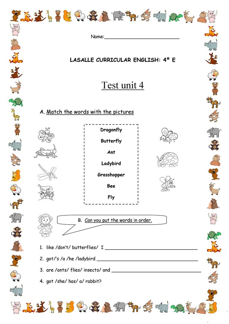Test for 4th grade worksheet - Free ESL printable ...