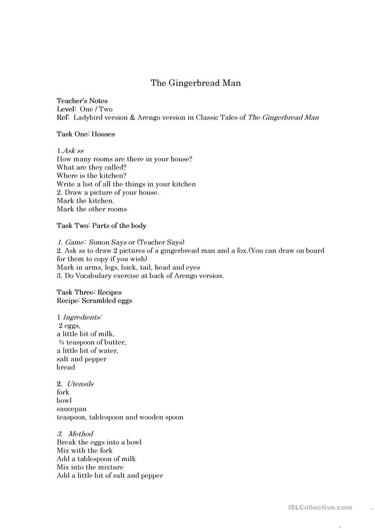 the gingerbread man - English ESL Worksheets