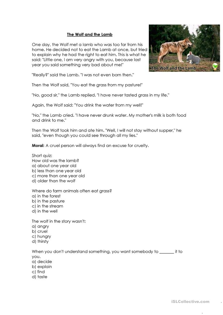 the wolf and the lamb story moral