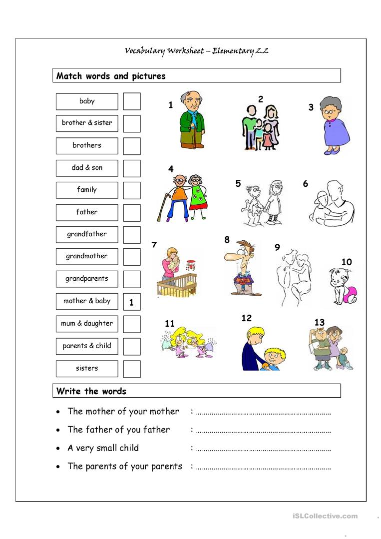 Worksheets Esl Worksheets Elementary 70 000 free esl efl worksheets made by teachers for vocabulary matching worksheet elementary 2 family worksheets