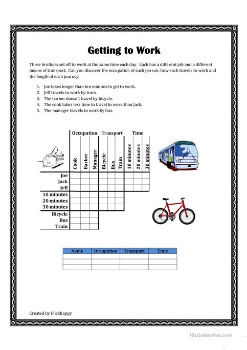 Getting To Work Logic Puzzle Worksheet Free Esl Printable