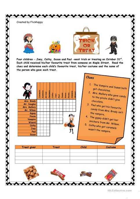 Halloween Logic Puzzle Worksheet Free Esl Printable Worksheets