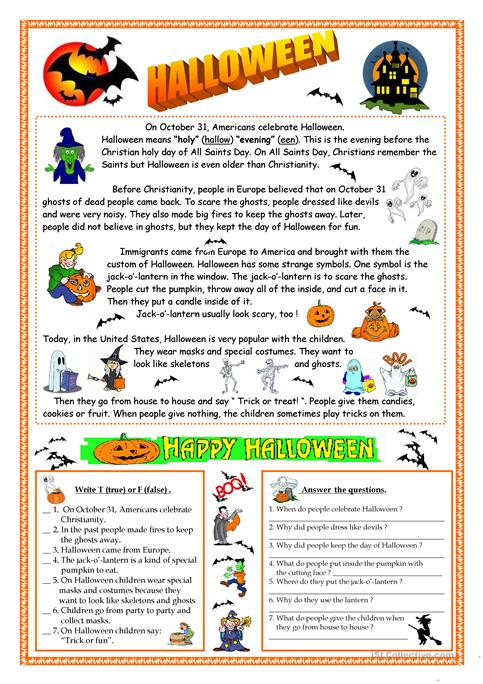 halloween reading - Halloween Fun Pages Printables