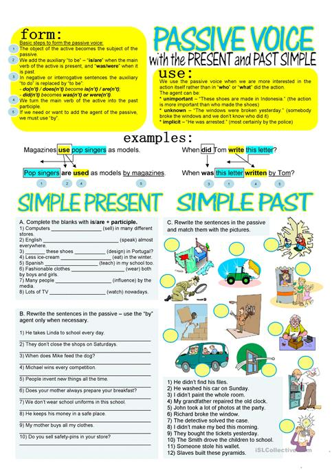 Passive Voice With Simple Present And Past Worksheet Free Esl