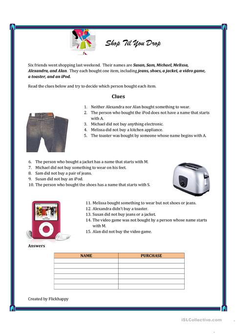 Shop Till You Drop Logic Puzzle Worksheet Free Esl Printable