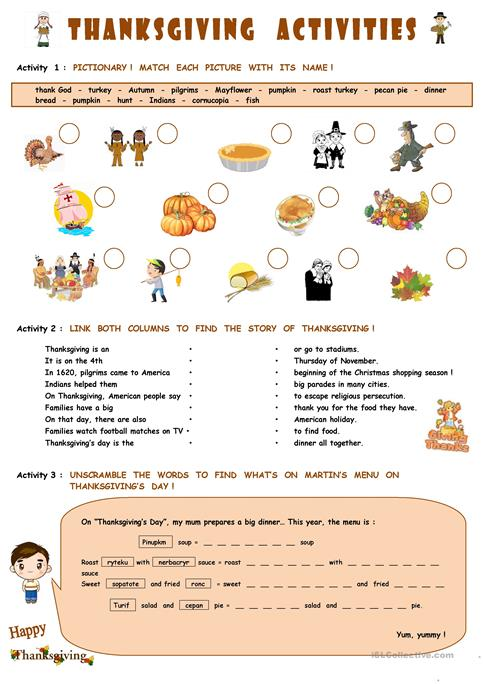 Thanksgiving Activities Worksheet Free Esl Printable Worksheets