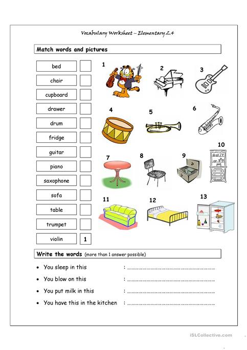 Vocabulary Matching Worksheet - Elementary 2.4 (Musical Instruments ...