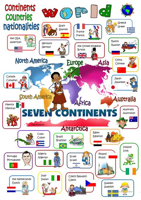 World Continents Countries Nationalities Worksheet Free ESL - Continents and countries