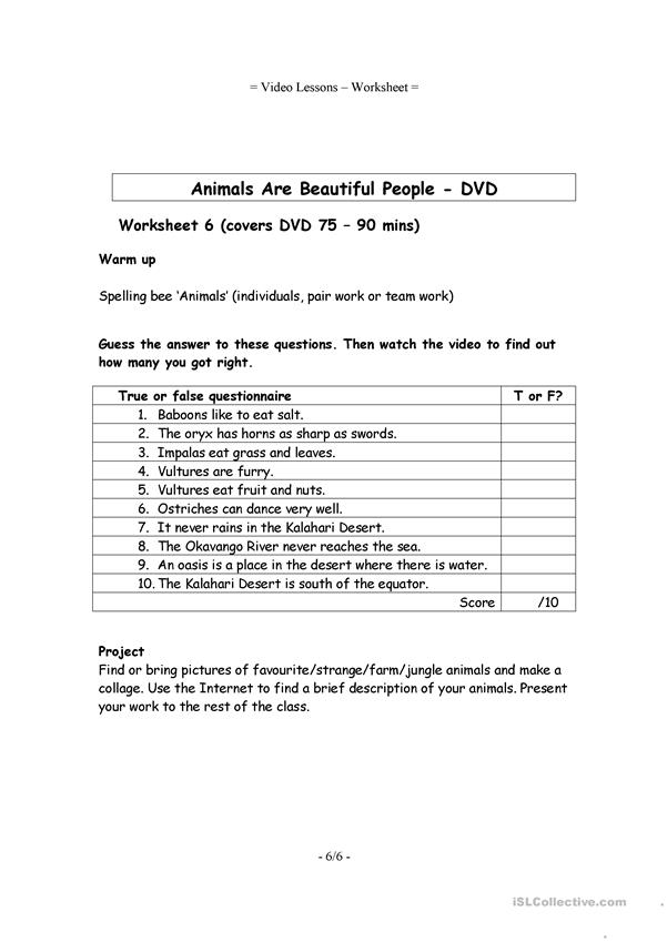 6 Video Worksheets - Animals are beautiful people