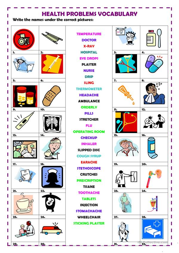 Health problems vocabulary